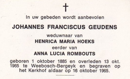 bidprentje JF Geudens - Lucia Geudens - Rombouts 2